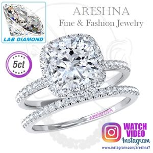 2Pcs 5ct Lab Diamond Cushion Cut Engagement Ring